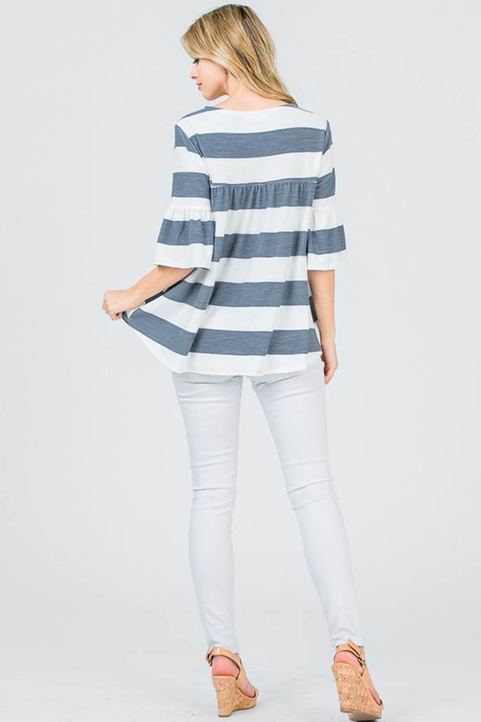 Mary Comfy Tunic Top : Denim