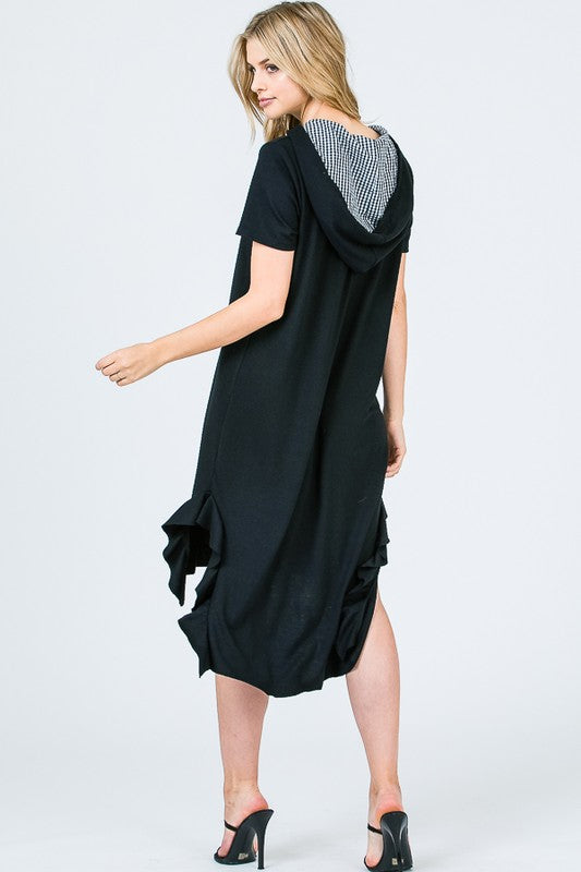 Hannah Hooded Dress : Black