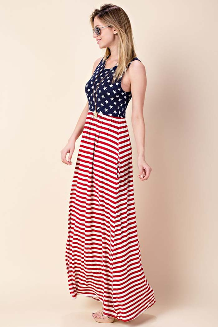 Piper American Flag Maxi Dress : Navy