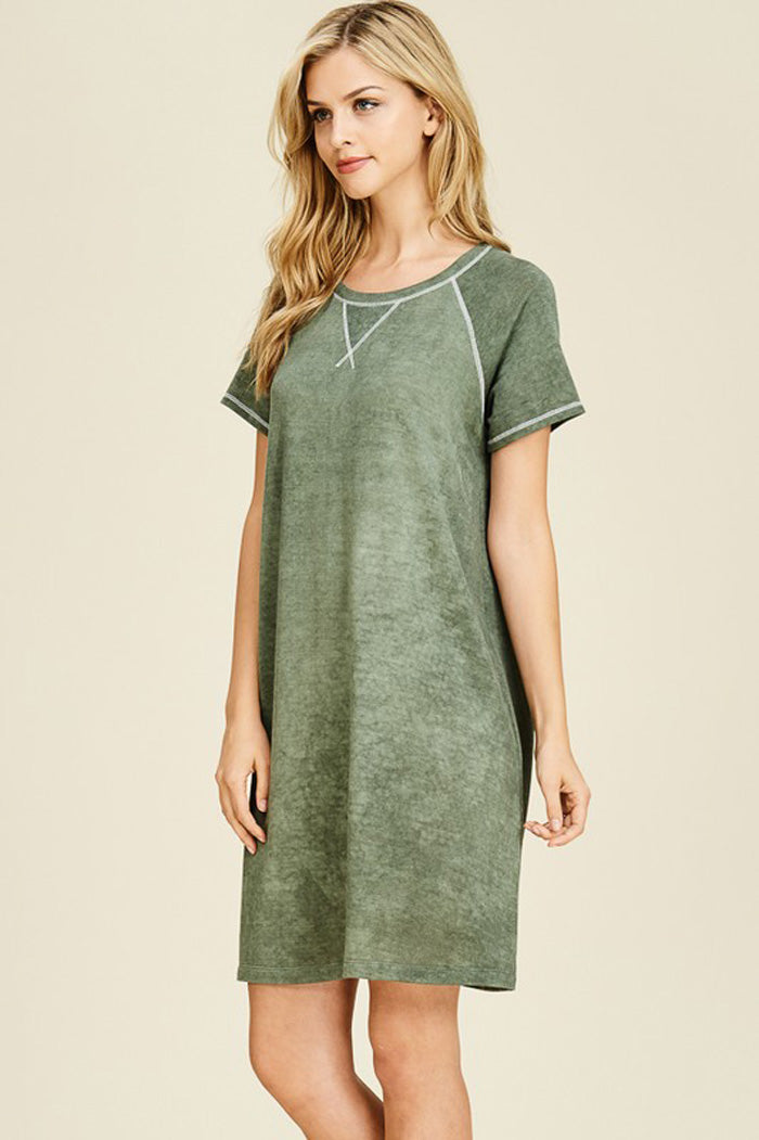 5992ac8b0a Gabriel Washed Dress : Olive – GOZON Boutique