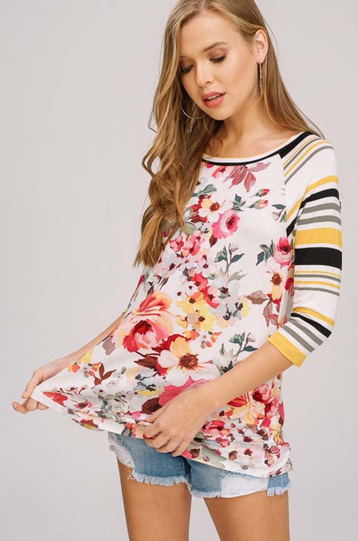 Abbie Casual Print Tunic Top : Yellow