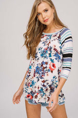 Abbie Casual Print Tunic Top : Blue