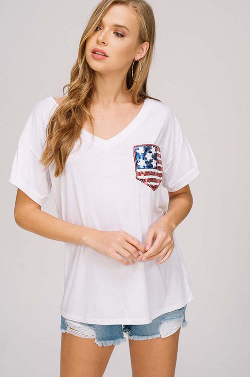 Sally Flag Pocket Top : White