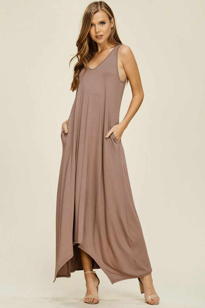 Melody V-Neck Maxi Dress : Taupe Grey