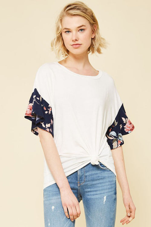 Georgia Floral Sleeve Top : White