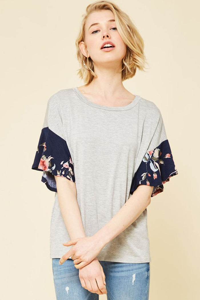 Georgia Floral Sleeve Top : Heather Grey