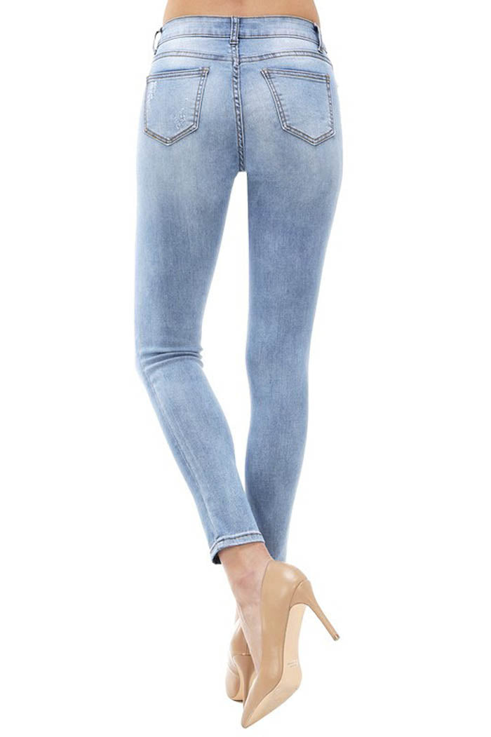 Lucy Ankle Skinny Jeans : Medium Light Blue