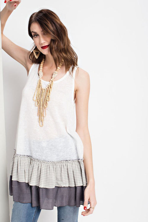 Aurora Sheer Knit Tunic : Off White