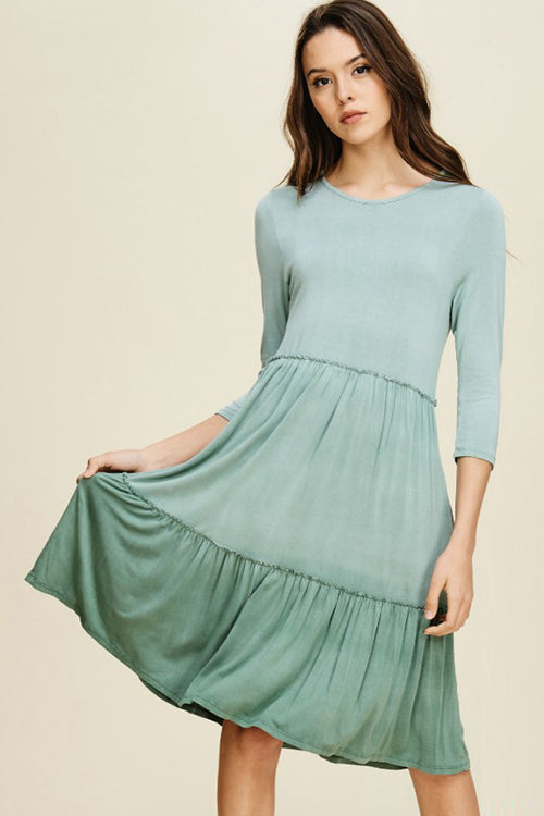 Dakota Dye Layered Dress : Olive