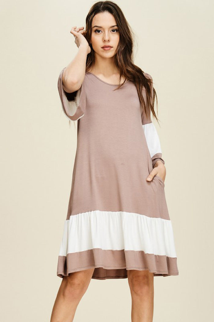 Ellie Color Block Dress : Taupe/Off White