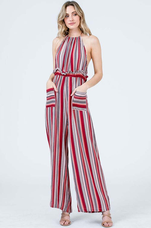 Paige Striped Halter Jumpsuits : Red