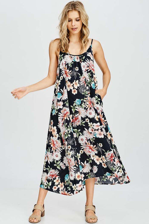 Gini Floral Party Maxi Dress : Black