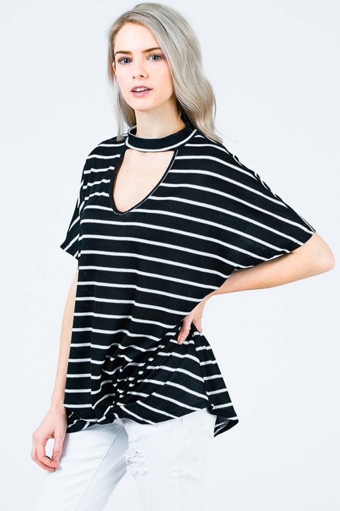 Willow Chocker Stripe Top : Navy/White