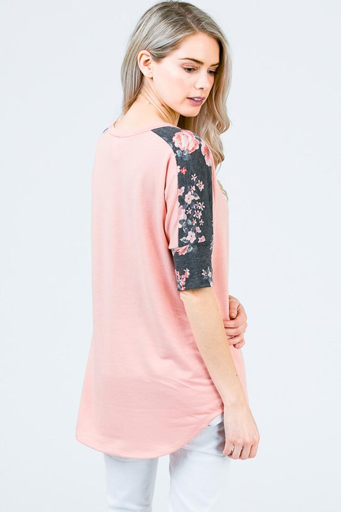 Lizzie Floral Sleeve Top : Blush/Charcoal