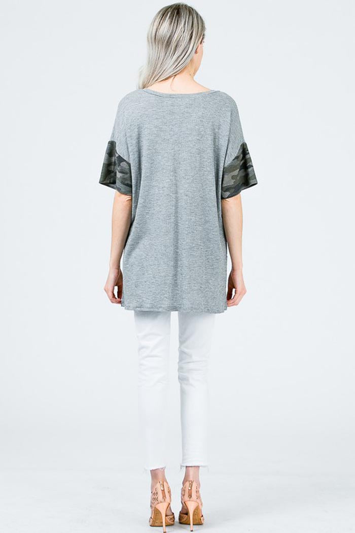 Katie Camo Sleeve Tunic : Heather Grey