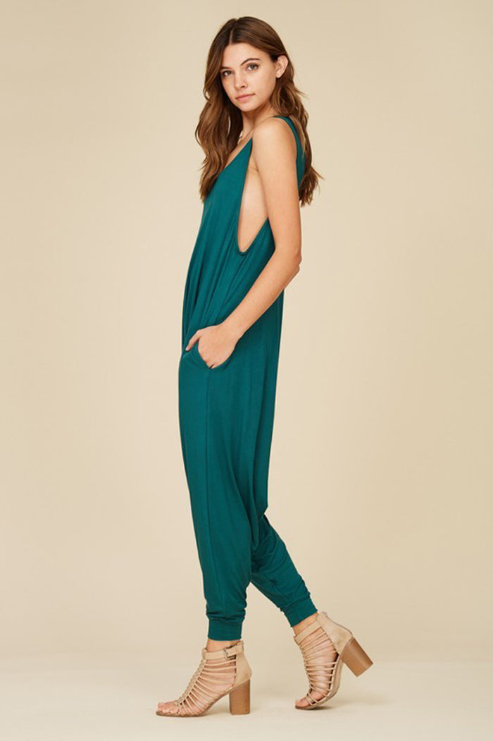 Aria Sleeveless Jumpsuits : Hunter Green