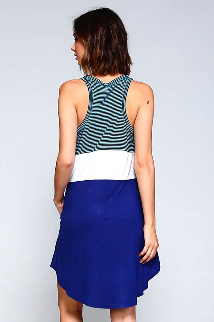 Chloe  Racer Back Three Color Block Dress :  Navy/Aqua