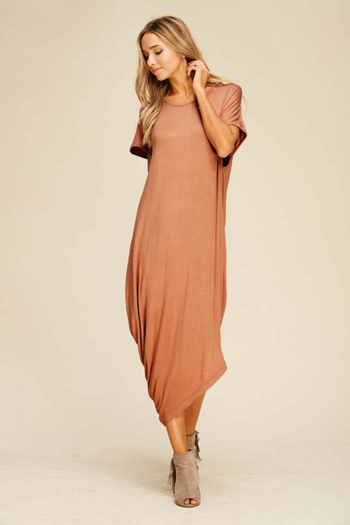 Bella Asymmetrical Dress : Coffee