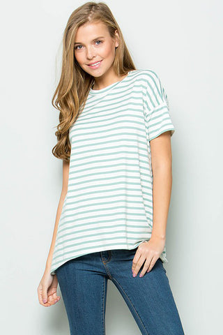 Elizabeth Stripe Dress Plus : Mint