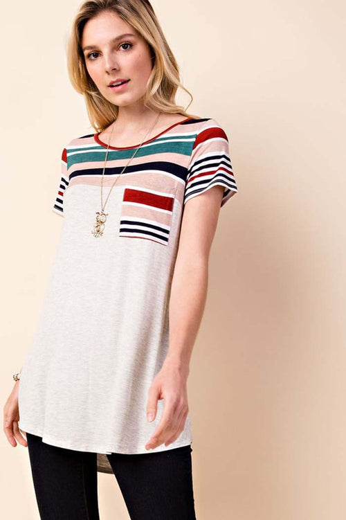 Gemma Multi Stripe Tunic Top : Mint