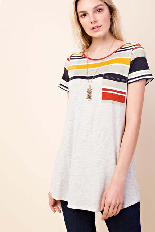 Gemma Multi Stripe Tunic Top : Mauve