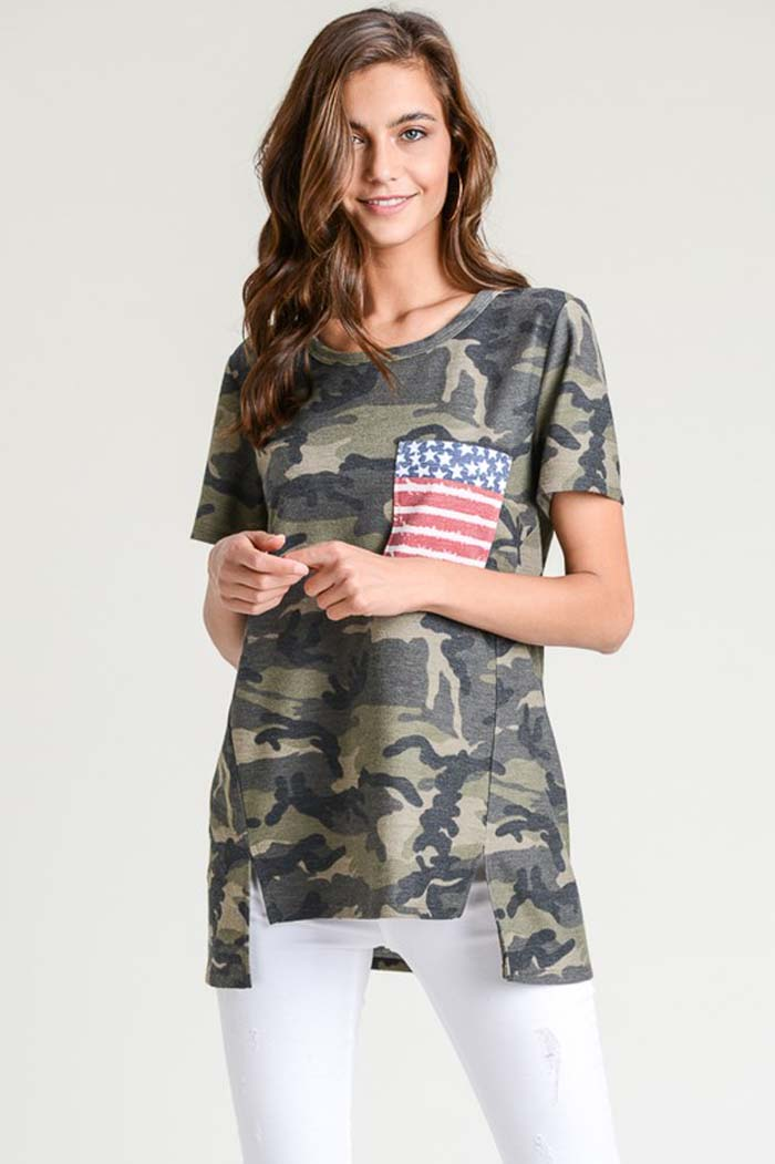 Ella Camo with Flag Top : Olive