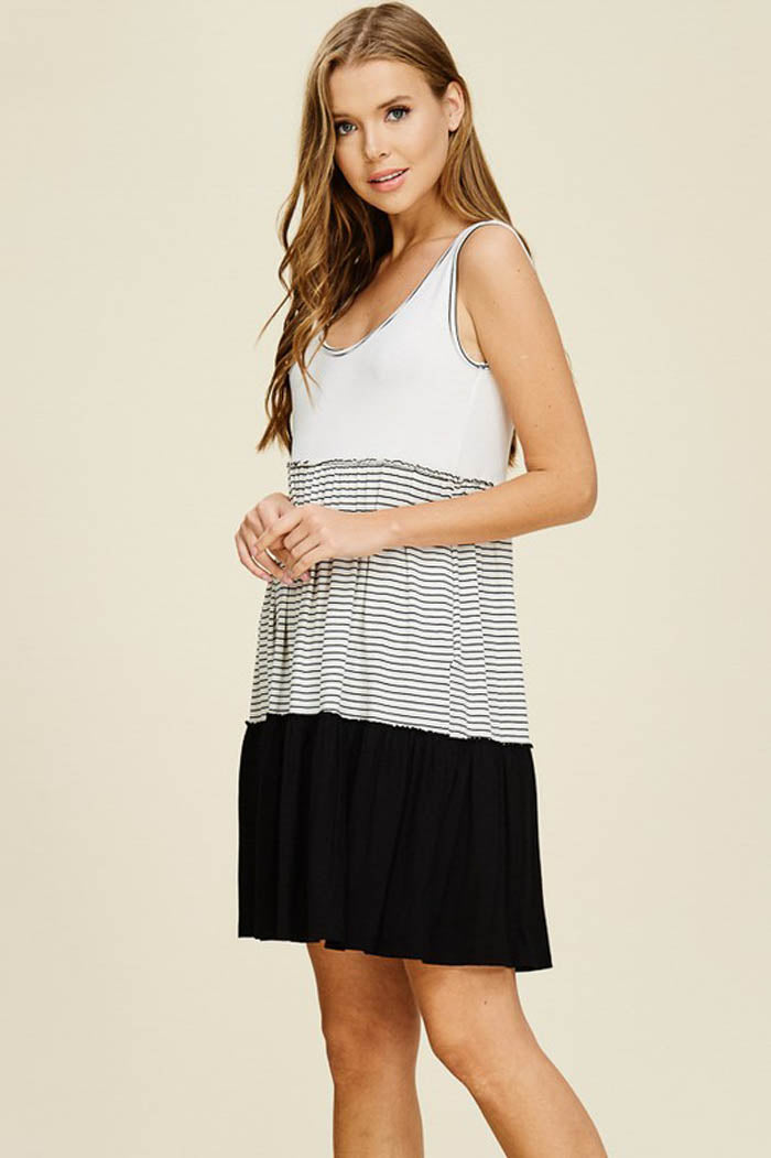 Clara Layered Dress : Ivory/Black