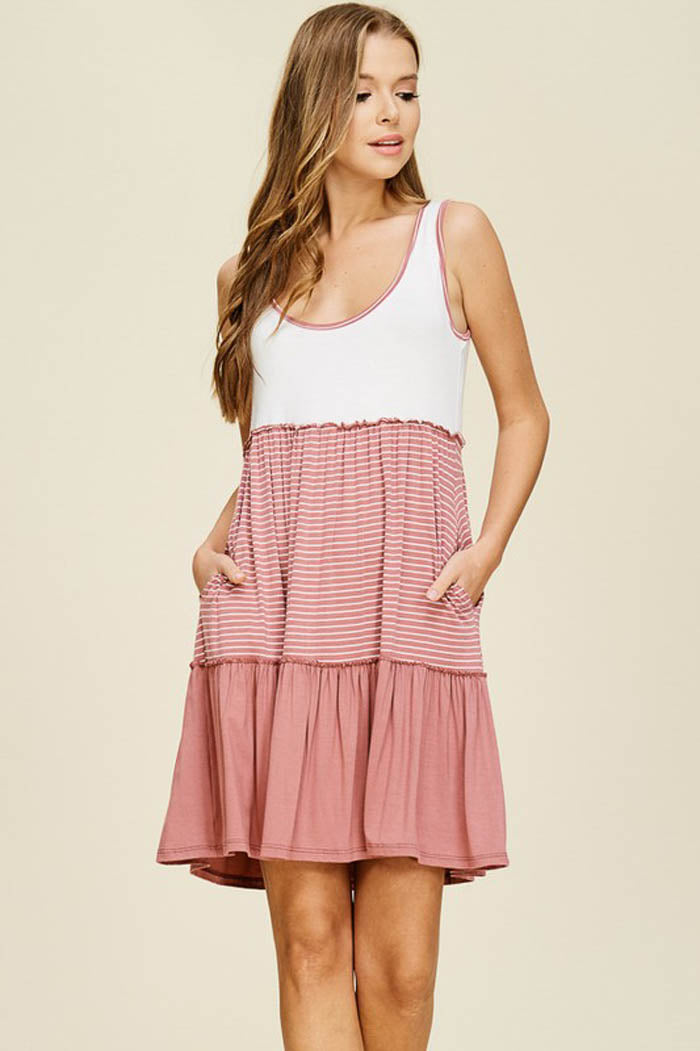 Clara Layered Dress : Ivory/Mauve