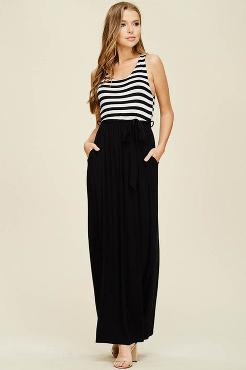 Sydney Waist Tie Maxi Dress : Black