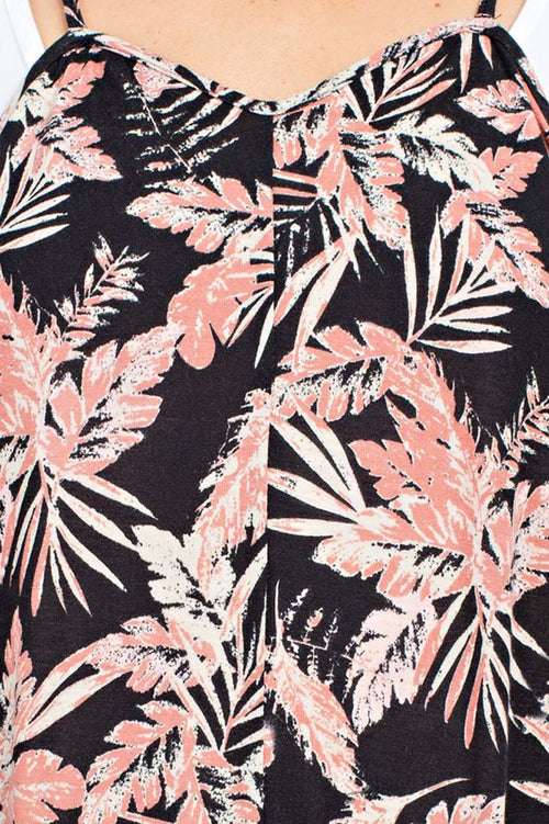 Summer Tropical Print Jumpsuits : Black