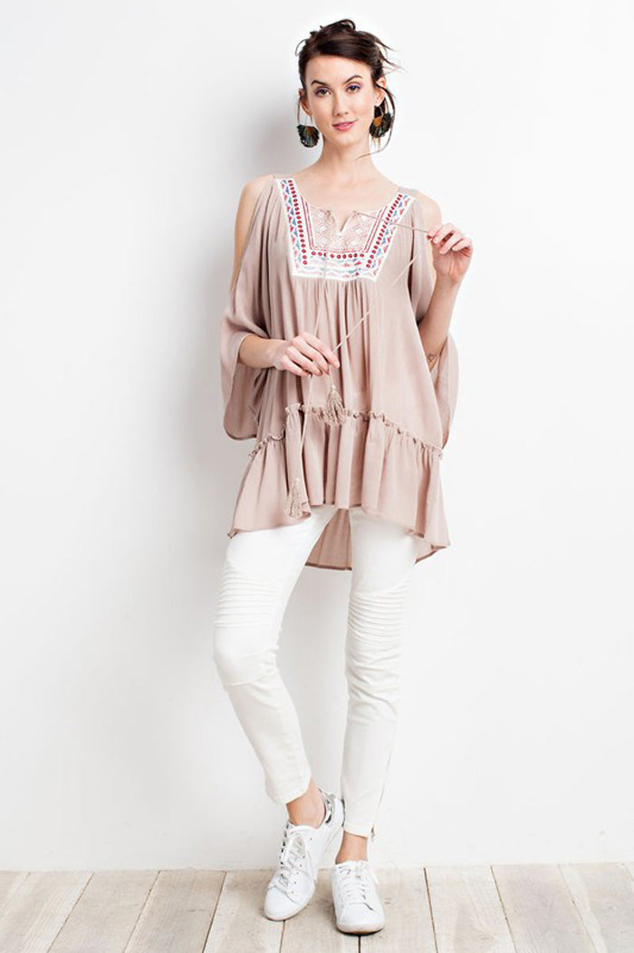 Carla Boho Tunic Top : Natural