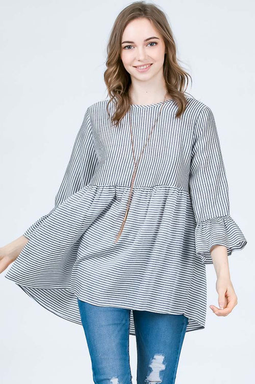 Harmony  Bell Sleeve Top : Black
