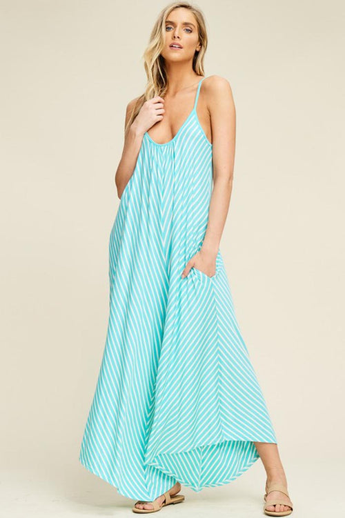 Brooke Stripe Flare Jumpsuits : Mint/Ivory