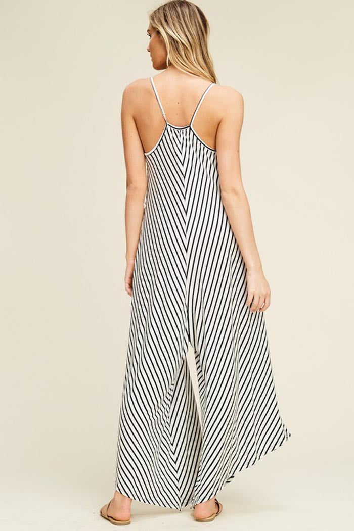 Brooke Stripe Flare Jumpsuits : Ivory/Black