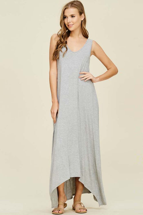 Melody V-Neck Maxi Dress : Heather Grey