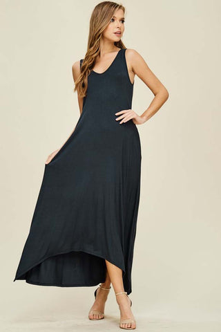 Mya Solid 3/4 Sleeve Maxi Dress : Navy