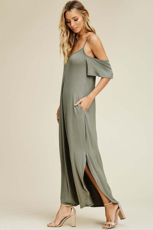Linda Cold Shoulder Maxi Dress : Light Olive