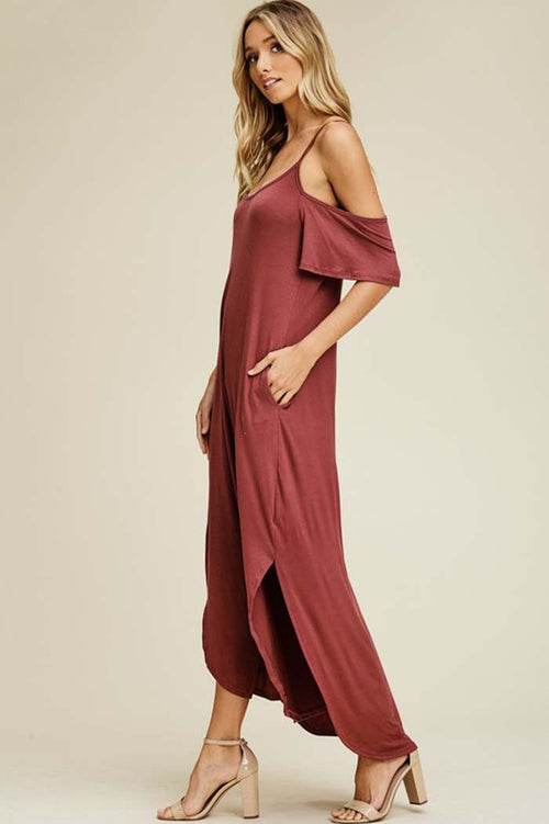 Linda Cold Shoulder Maxi Dress : Berry