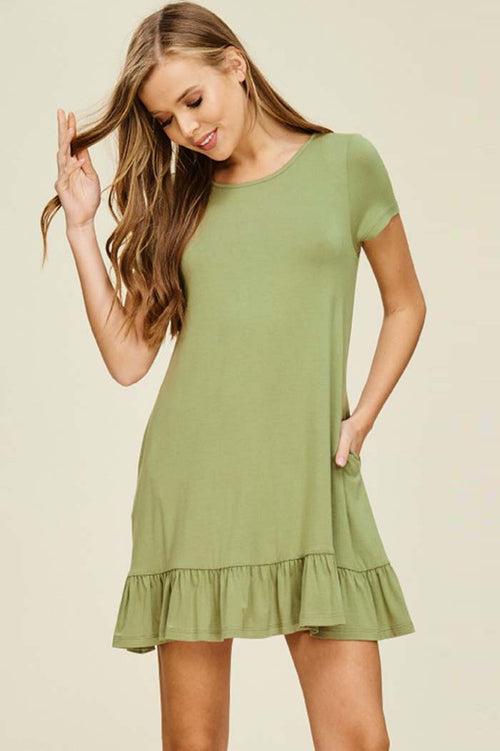 Gianna Ruffle Hem Dress : New Olive