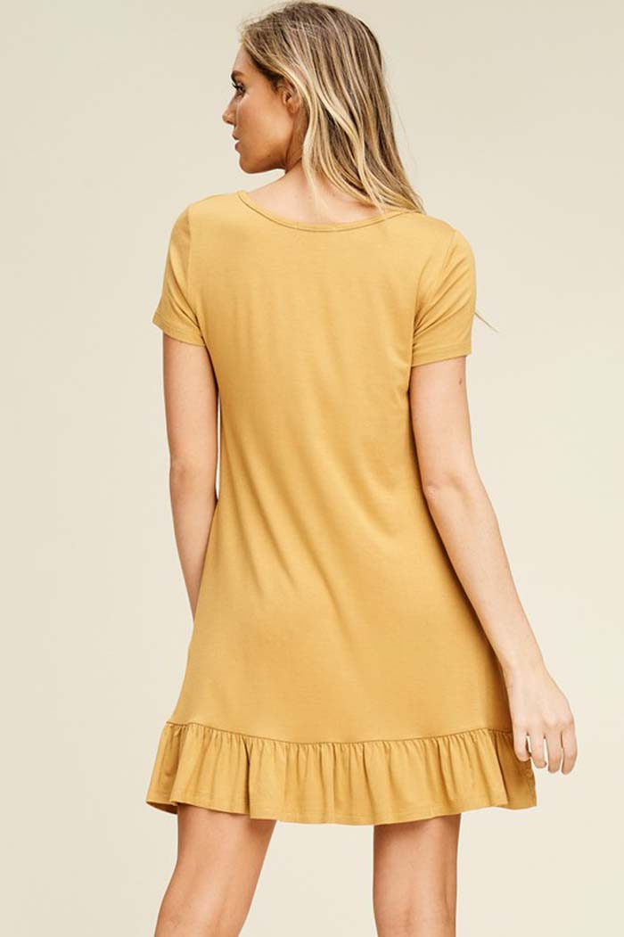 Gianna Ruffle Hem Dress : Bronze