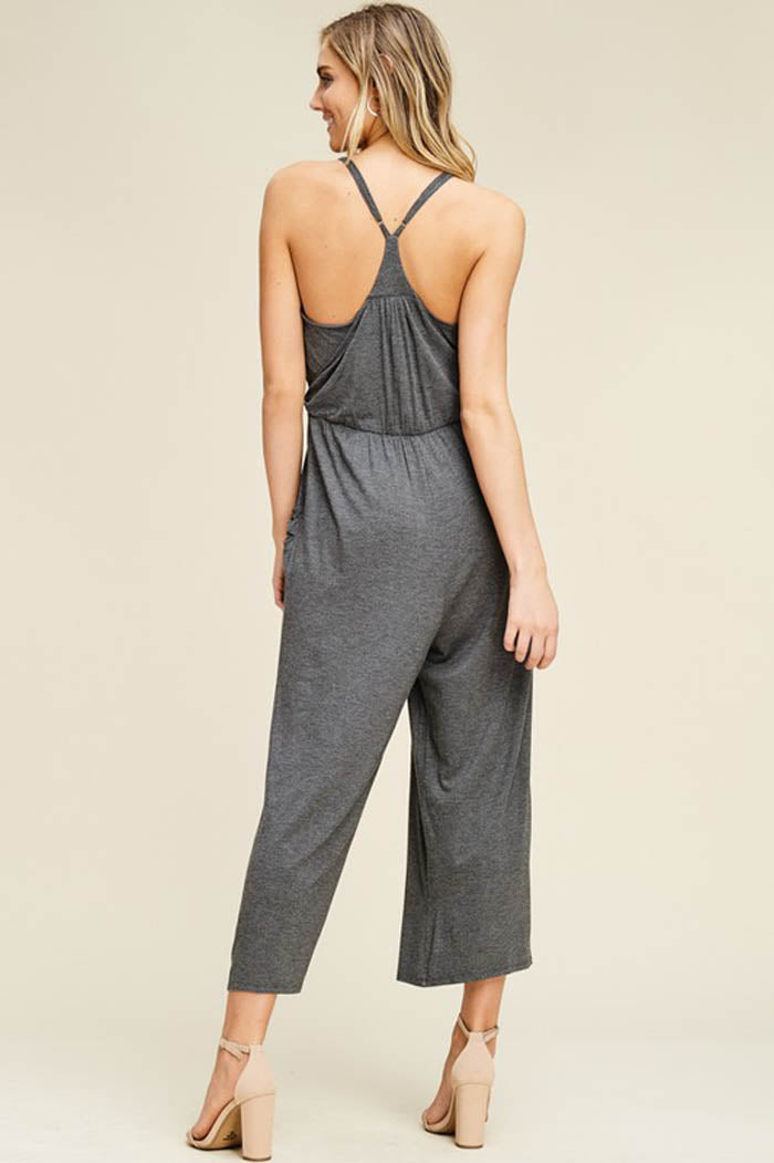 Hannah Front Tie Effortless Jumpsuits : Mid Grey