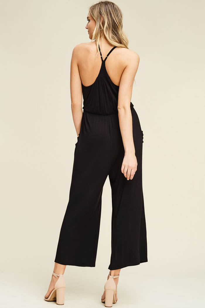 Hannah Front Tie Effortless Jumpsuits : Black