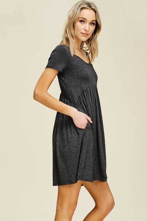 Joy Solid Swing Dress : Mid Grey
