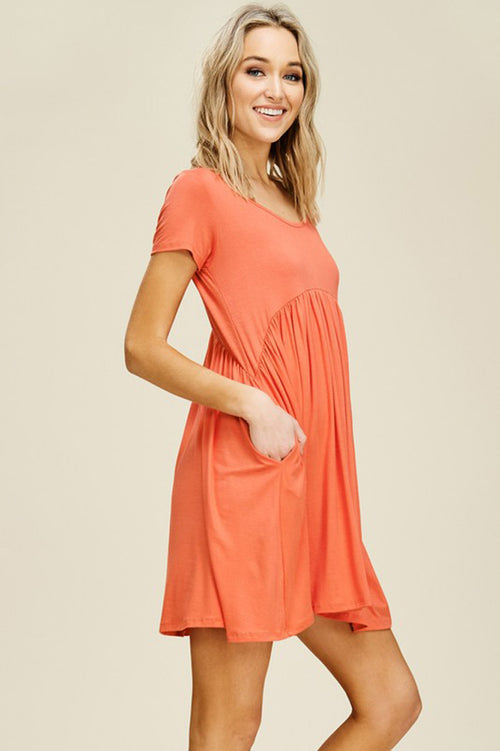 Joy Solid Swing Dress : Burt Orange
