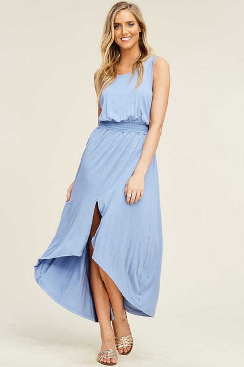 Grace Smoked Waist Maxi Dress : Sky Blue