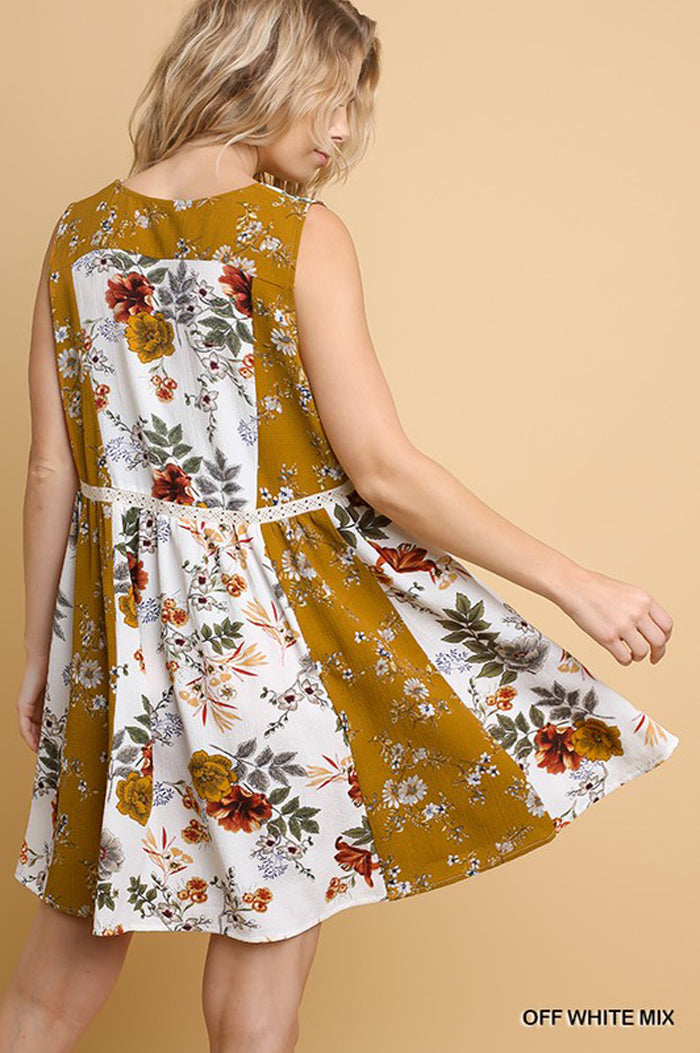 Kelly Floral V-Neck Dress : Off White