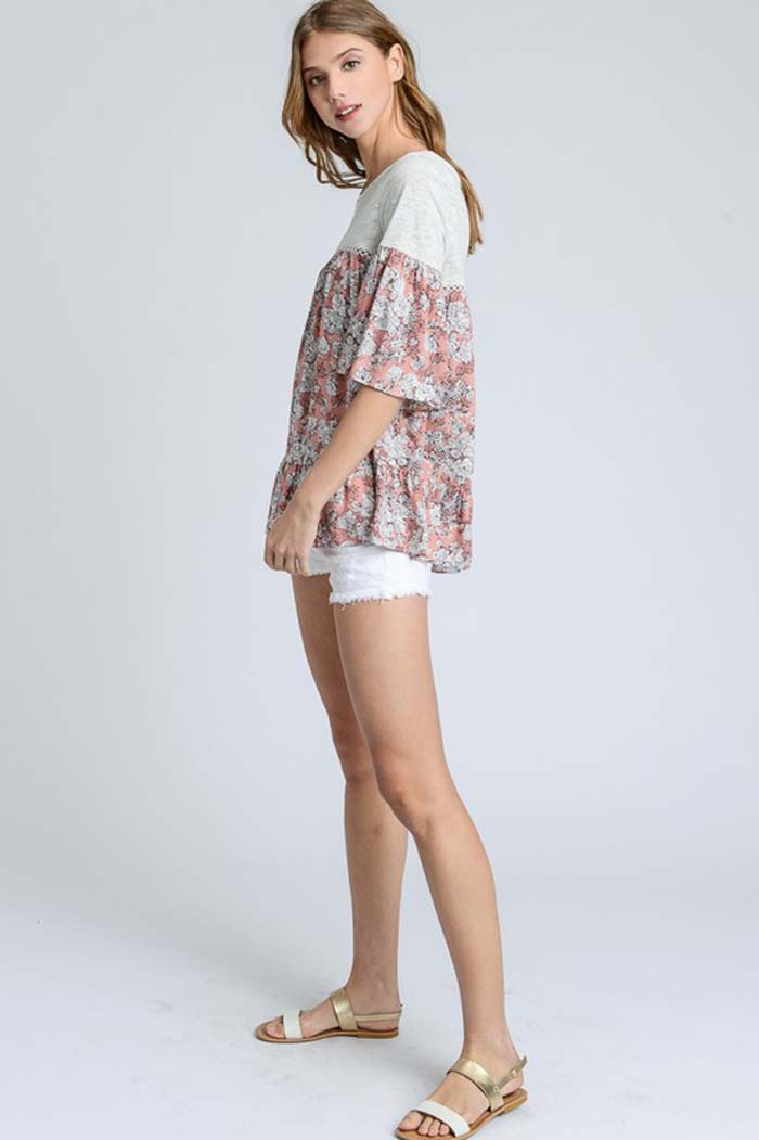 Faith Loose Floral Top : Rust