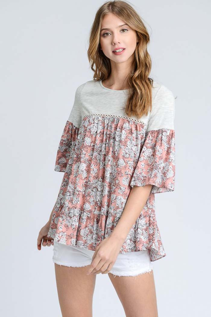 Faith Loose Floral Top : Blue