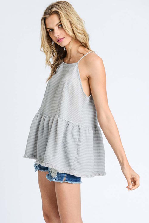 Bridget Cute Peplum Top : Grey