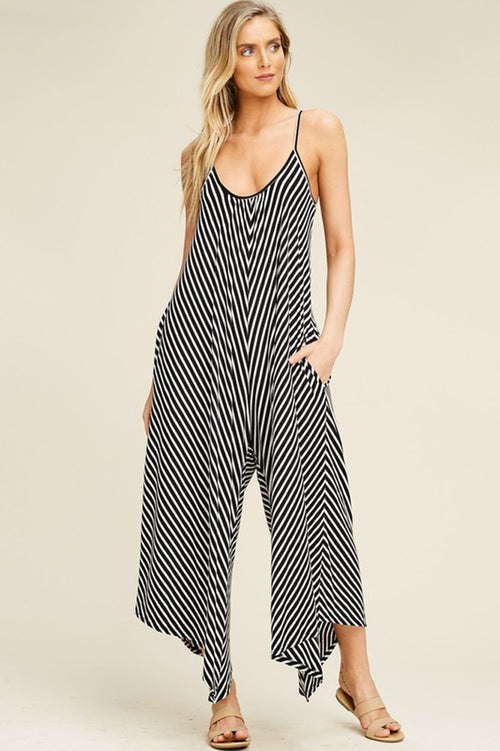 Brooke Stripe Flare Jumpsuits : Black/Ivory